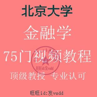 北大 北京大学 金融学 经济学 全套 75门 视频教程 超完整(tbd)